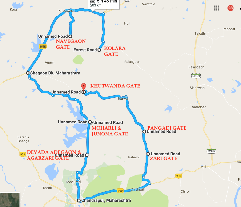 Tadoba Safari Gates Distance